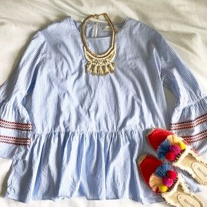 Chicwish Blue Stripe top with bell sleeves
